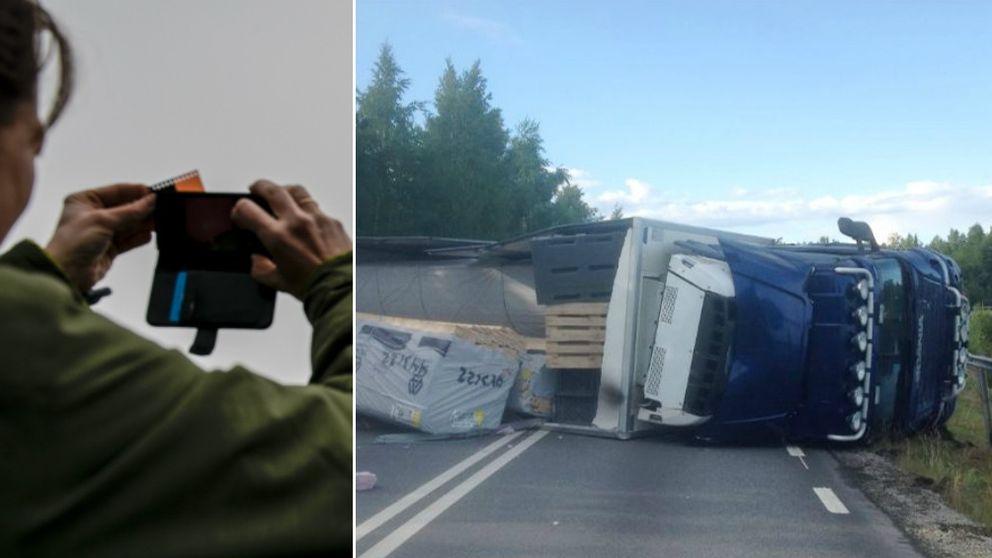 mobil, mobilkamera, lastbilsolycka