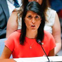USA:s FN-ambassadör Nikki Hayley efter kvällens omröstning i säkerhetsrådet.