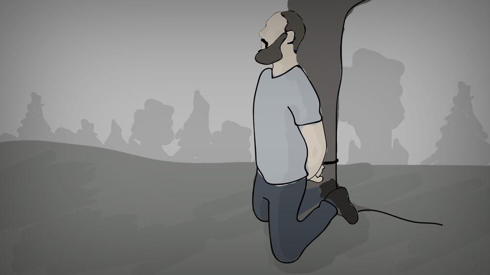 En illustration av en man som bundits vid ett träd