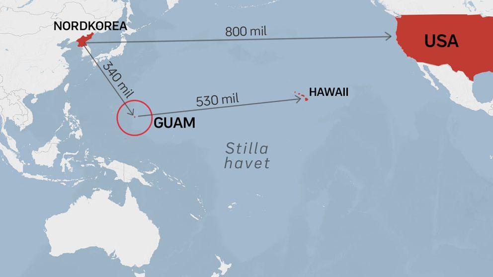 Nordkorea hotar att attackera Guam med en robotattack.