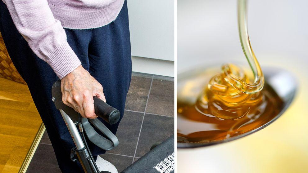 detaljbild åldring med rullator, närbild flytande honung hälls i sked