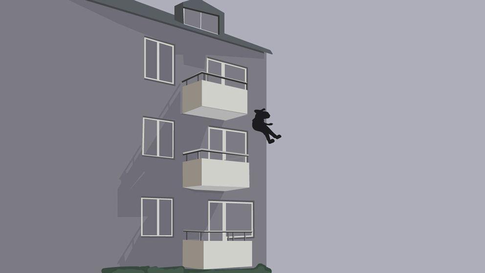 Grafik: Person faller från balkong på tredje våningen