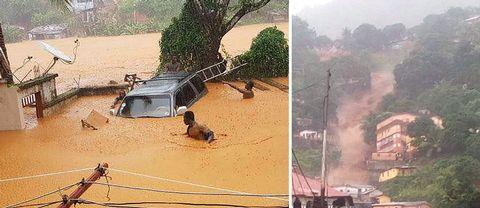 Regnen har fått en bergssida att kollapsa, rapporterar en medarbetare till brittiska BBC som är på plats i Regent.