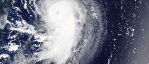 """Stormen """"Gert"""" när den precis tagit kurs upp över Nordatlanten utanför sydöstra USA"""