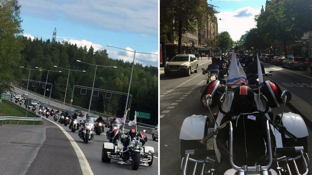 Ett 50-tal motorcyklar på motorvägen.