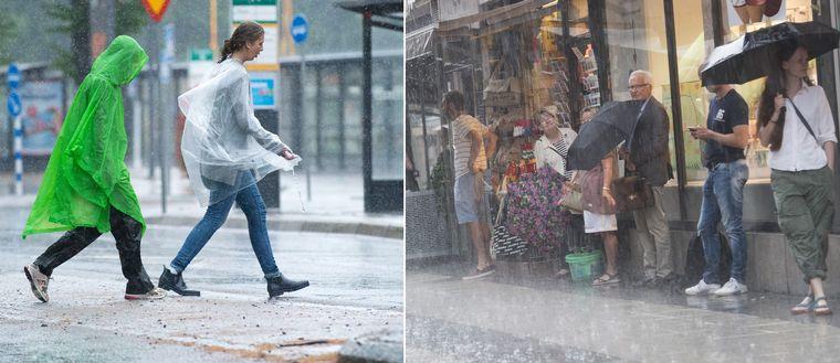 folk gömmer sig för regnet