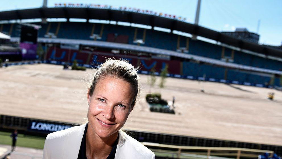 Sveriges Malin Bayard inför hopptävlingarna vid EM i ridsport på Ullevi.