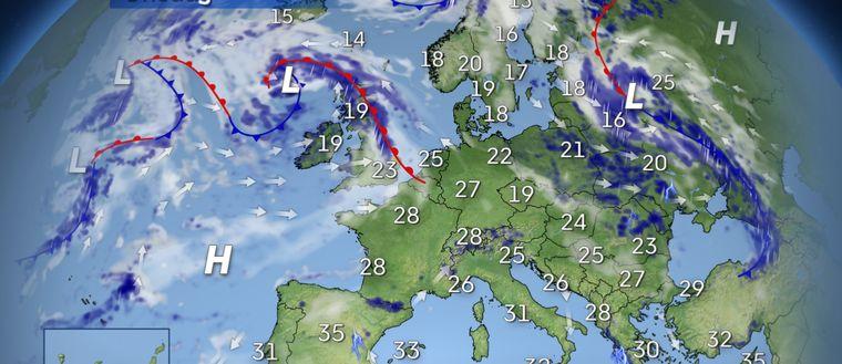 Stabilt väder dominerar kring Medelhavet och lite värme når även upp över Centraleuropa. I öster är luften orolig och det bildas en hel del skurar och åska. En blick västerut brukar skvallra om vad komma skall – och senare i veckan blir det ostadigt väder i Skandinavien.