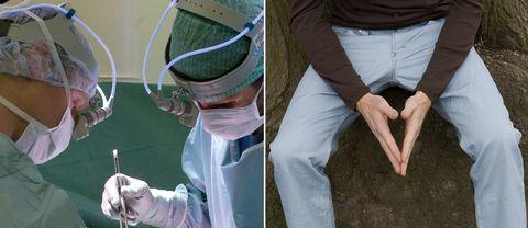 En bild på två läkare under en operation och en bild på en människa i jeans.