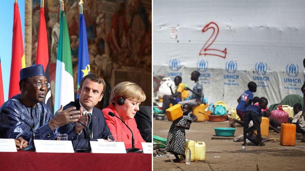 Tchads president Idriss Deby, Frankrikes president Emmanuel Macron, Tysklands förbundskansler Angela Merkel. Arkivbild från ett flyktingläger i Uganda.