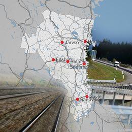 Karta över gävleborg med infällda bilder på väg och järnvägar
