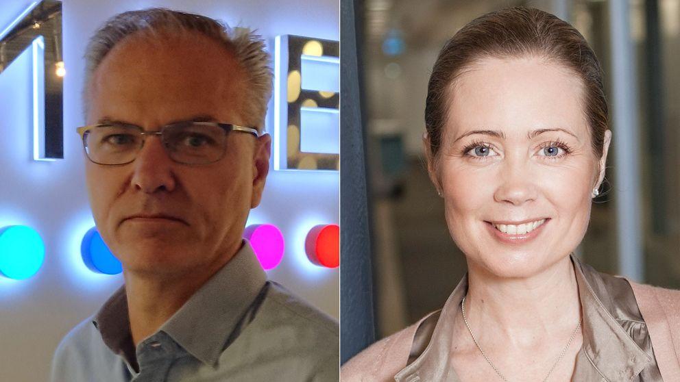 Anders Nilsson, vd för Comhem, och Discoverys svenska vd Henriette Zeuchner.