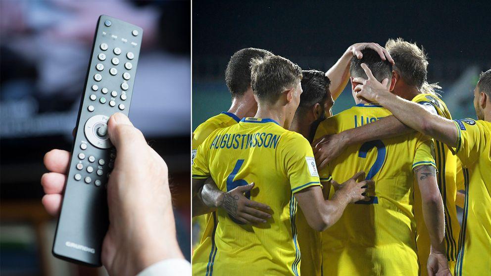 En fjärrkontroll samt herrlandslaget i fotboll