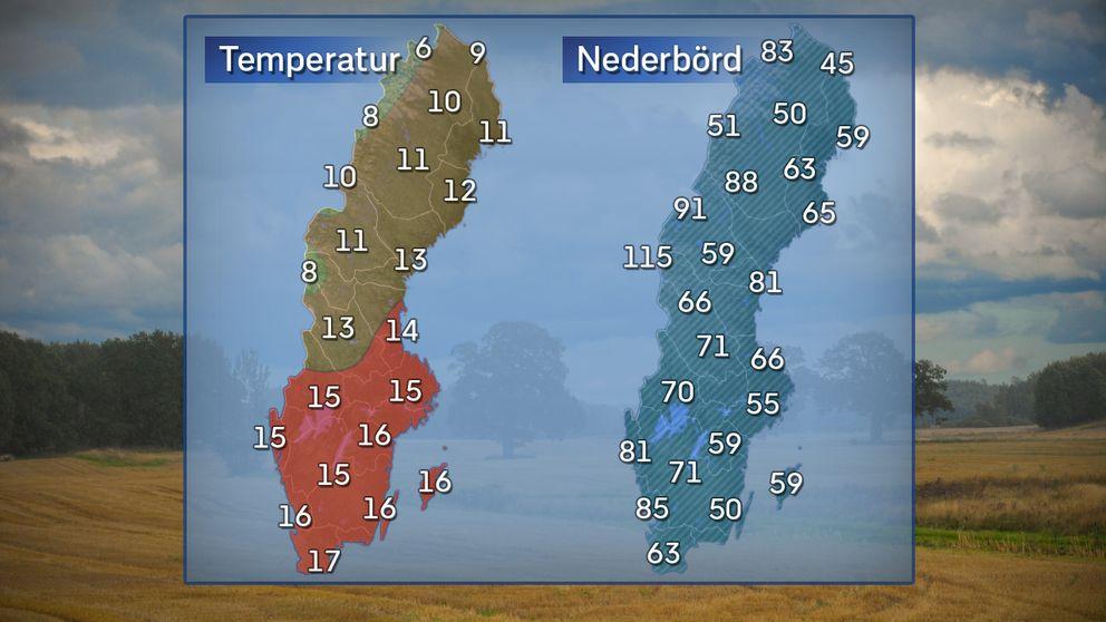 Temperaturer för en normalvarm septemberdag i mitten av månaden. Kartan längst till höger visar normalt antal dagar med nederbörd (0,1 mm eller mer) under månaden.