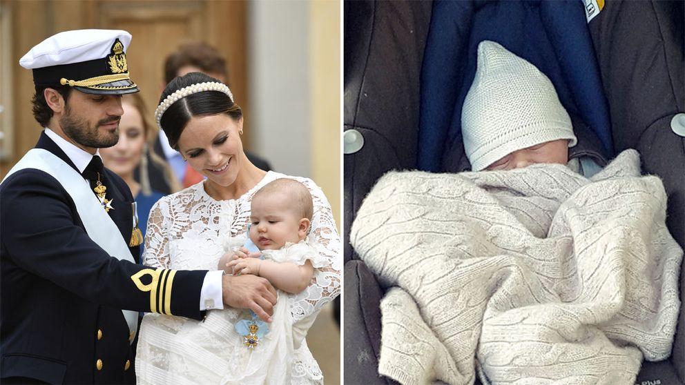 Prins Carl Philip, prinsessan Sofia och prins Alexander lämnar kyrkan efter prins Alexanders dop och nye prinsen Gabriel.