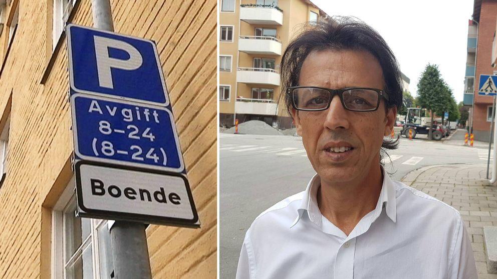 Frisören Fehri Mekadmini funderar på att byta lokal på grund av de nya parkeringsavgifterna.