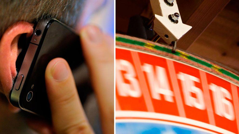 En man talar i telefon, ett hjul med vinstnummer på ett tivoli.