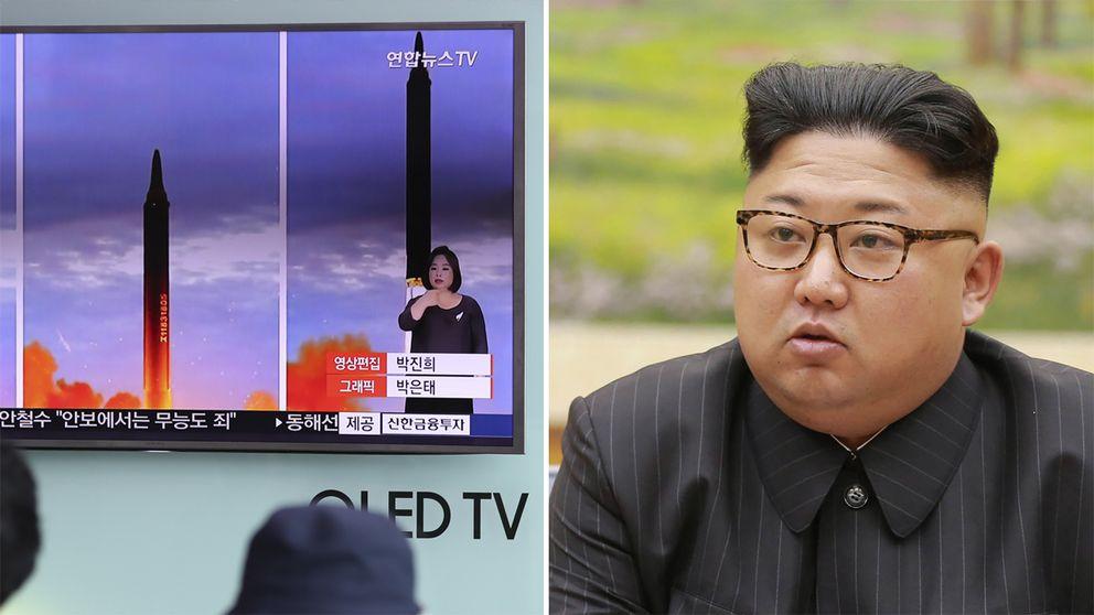 Till vänster tv-skärm visar nordkoreansk tv-sändning med två bilder som visar en missil som avfyras. Till höger en bild på Nordkoreas ledare Kim Jong-un.