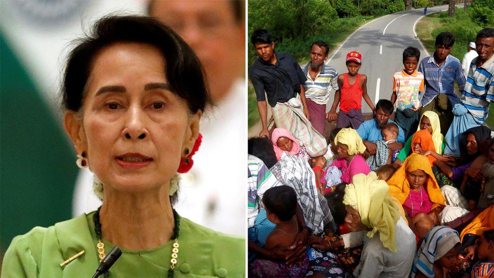 Till vänster en bild av Aung San Suu Kyi. Till höger rohingyier som flyr Burma på en lastbil.