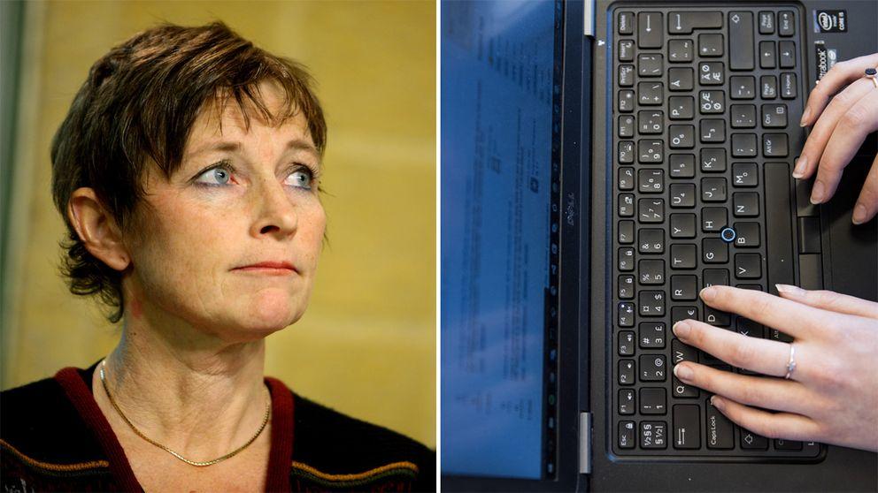 Maria Ågren och en dator.