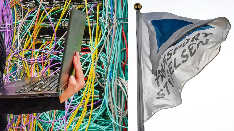 IT-servrar samt en flagga med Transportstyrelsens logotyp