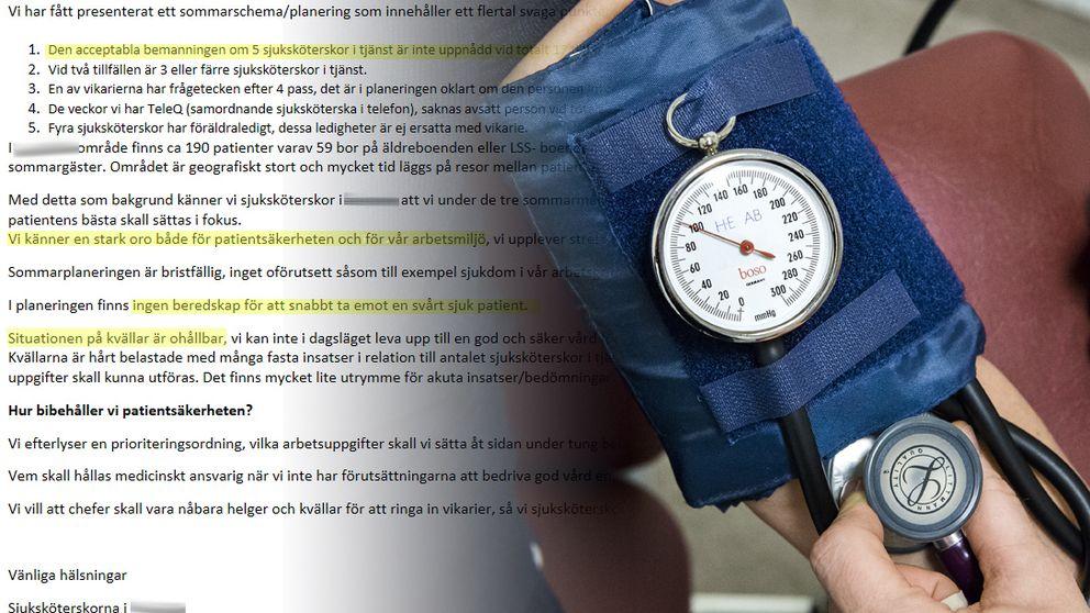 Ett brev från sjuksköterskor och blodtrycksmätare i ett kollage.