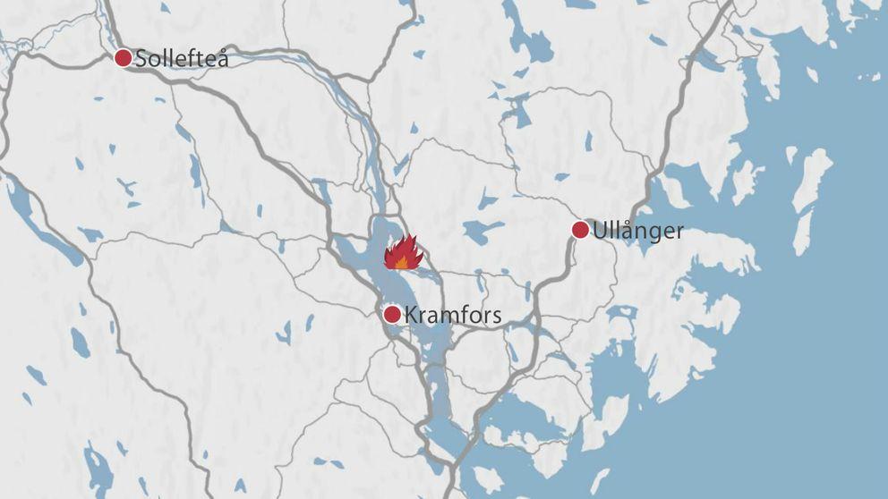 En karta över delar av Västernorrland där branden i Nyhamn är markerad med en symbol för en brand.