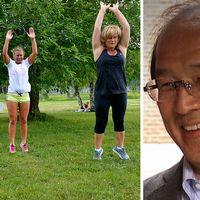 Tre personer som tränar intervaller i det gröna. Till höger upphovsmannen IzumiTabata.