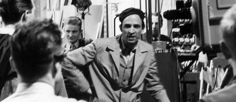 """Ingmar Bergman under inspelningen av pjäsen """"Venetianskan"""", 1958."""