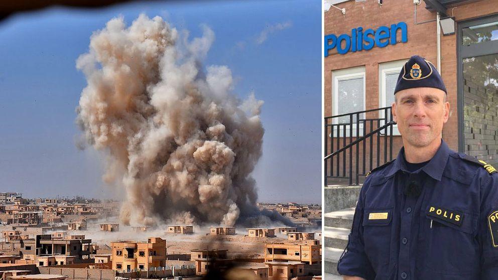 Rök från en explosion i Syrien och polisen Fredrik Malm.