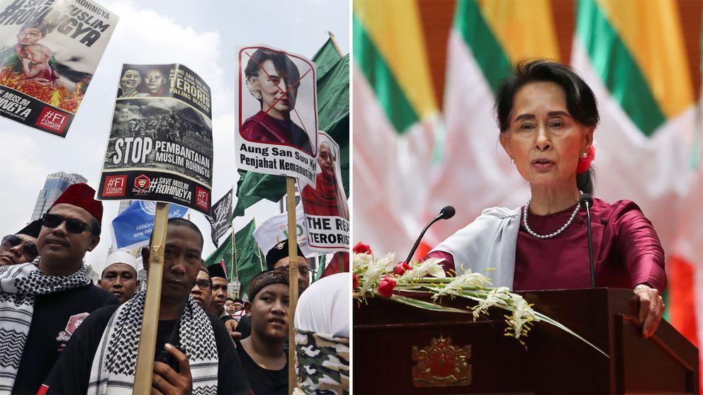 Till vänster flera personer håller upp plakat och protesterar. Till höger Aung San Suu Kyi står i talarstolen framför en mängd burmesiska flaggor.