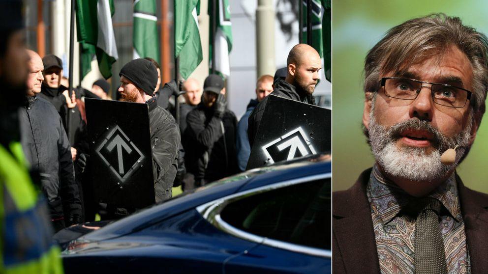 Nordiska motståndsrörelsen under demonstration i Göteborg. Till höger Christer Mattsson, forskare.