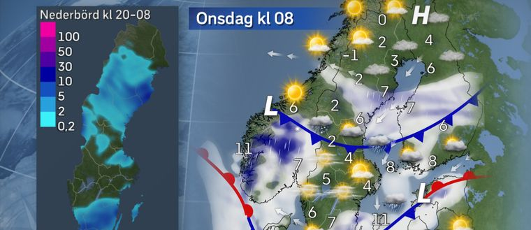 Torsdag morgon: Snö i Dala- och Härjedalsfjällen. Det kan bli ett första snötäcke för säsongen i fjällenvärlden i norra Dalarna och Härjedalen, för där ser regnet ut att slå över i snö under natten. Lilla kartan till vänster visar trolig nederbördsmängd i millimeter från tisdag kväll till onsdag morgon.
