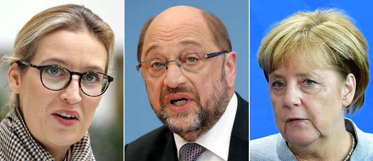 AFD:s kanslerskandidat Alice Weidel, SPD:s Martin Schulz och CDU:s Angela Merkel.