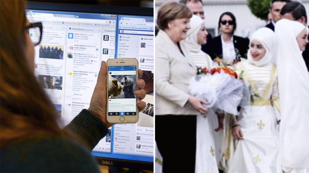 Bilden på Angela Merkel som sprids i samband med falska nyheter.