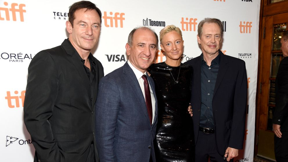 "Jason Isaacs, Armando Iannucci, Andrea Riseborough and Steve Buscemi vid premiären av ""The Death of Stalin"""