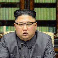 Kim Jong-Un håller tal i nordkoreansk tv.