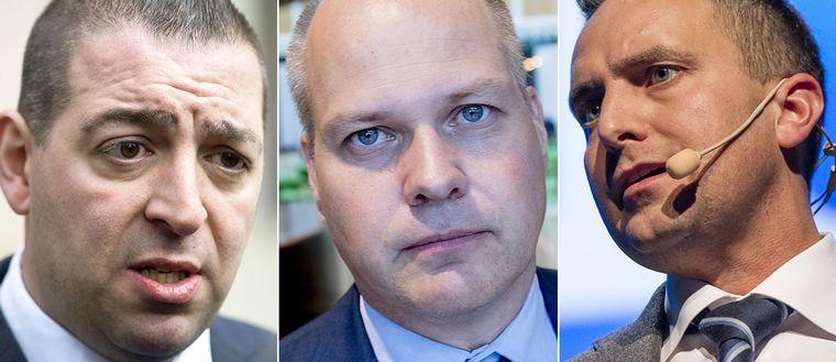 Roger Haddad (L), Morgan Johansson (S) och Tomas Tobé (M).