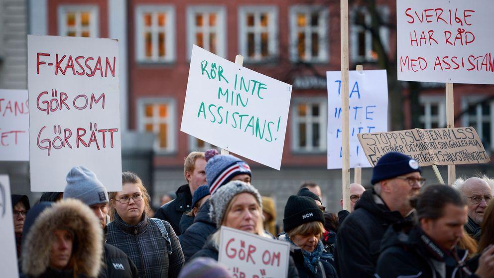 En manifestation för rätten till assistans