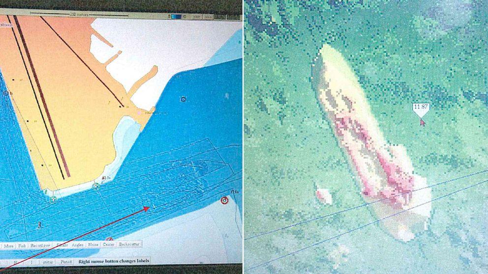 Enkel grafisk bild som visar en bit av hamnkartan, samt en avlång form och pilar med siffror