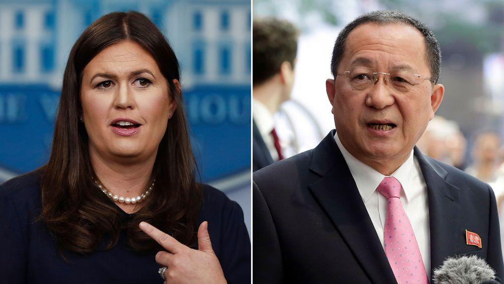 Vita husets talesperson Sarah Sanders och Nordkoreas utrikesminster Ri Yong-Ho.