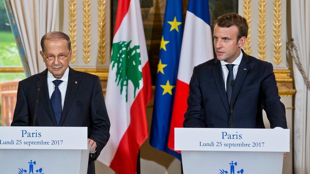 Den libanesiska presidenten Michel Aoun med sin franske kollega Emmanuel Macron.