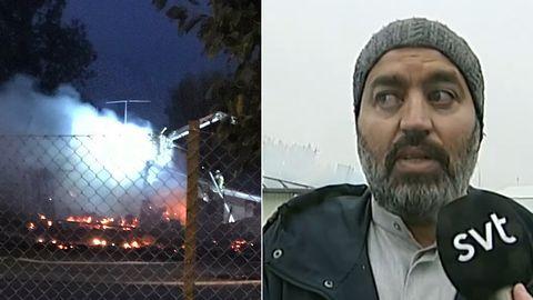 Brand i Örebro moské och Jamal Lamhamdi, vd Örebro moské styrelse i ett montage.