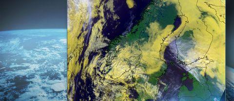 Satellitbild från den 26 september 2017. Mycket moln på många håll, vilket är typiskt för hösthögtryck. Dock även en del områden med soligare väder.