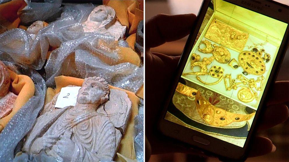 Till vänster stenfigurer ligger uppradade på bubbelplast. Till höger en mobilskärm som visar smycken och föremål i guld.