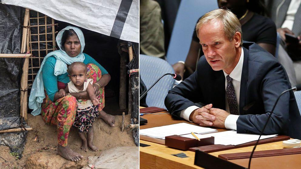 En rohingyaflykting med sitt barn i ett flyktingläger i Bangladesh, samt Sveriges FN-ambassadör Olof Skoog i säkerhetsrådet.