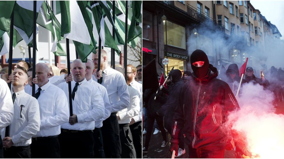 Till vänster NMR, till höger vänsterextrema under en demonstration i Stockholm.