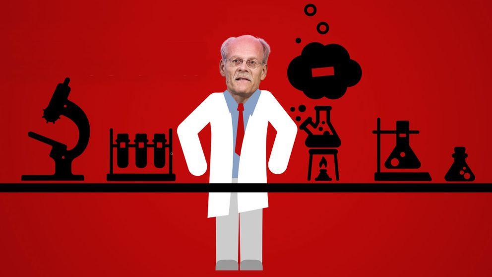 Riksbankschefen i en tecknad laboratorie-miljö.