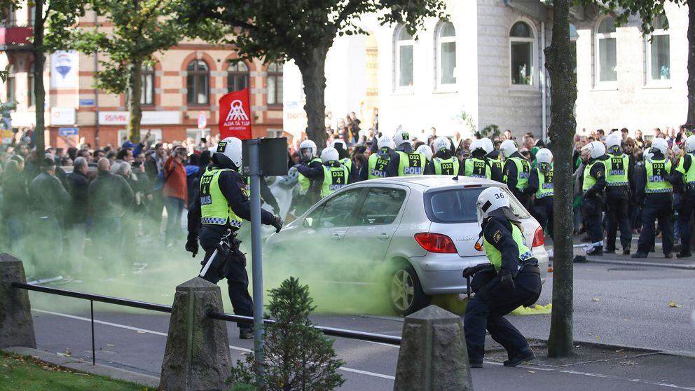 Polis under demonstrationerna i Göteborg