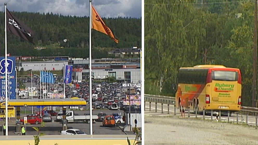 Översikt över Birsta handelsområde samt en bild på en buss från Byberg Nordin.